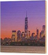 New York City Manhattan Midtown Panorama At Dusk With Skyscraper Wood Print