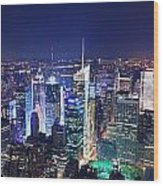 New York City Manhattan Night Panorama Wood Print