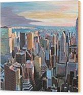 New York City - Manhattan Skyline In Warm Sunlight Wood Print