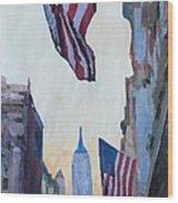 New York City - Manhattan Stars And Stripes Wood Print