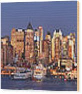 New York City Midtown Manhattan At Dusk Wood Print