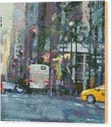 New York City Morning In The Street Wood Print