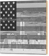 New York City On American Flag Black And White Wood Print