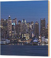 New York City Panorama At Dusk Wood Print