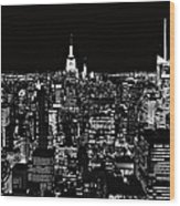 New York City Skyline At Night Wood Print