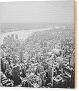 New York City Skyline - Foggy Day Wood Print
