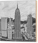 New York City Skyline - Lego Wood Print by Edward Fielding