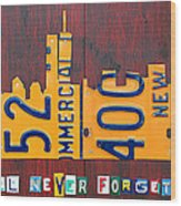 New York City Skyline License Plate Art 911 Twin Towers Statue Of Liberty Wood Print