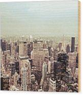 New York City - Skyline On A Hazy Evening Wood Print by Vivienne Gucwa