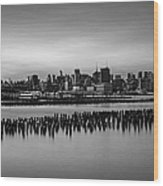 New York City Skyline Stillness Bw Wood Print