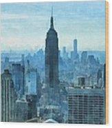 New York City Skyline Summer Day Wood Print