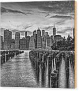 New York City Skyline Sunset Hues Bw Wood Print