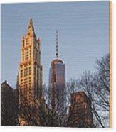 New York City Skyline Through The Trees Wood Print