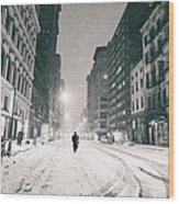 New York City - Snow - Empty Streets At Night Wood Print