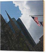 New York City Stars And Stripes Wood Print
