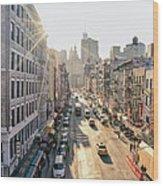 New York City - Sunset Above Chinatown Wood Print