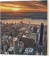 New York City Sunset Panorama Wood Print
