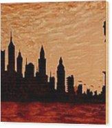 New York City Sunset Silhouette Wood Print