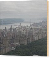 New York City Syline Draped In Clouds Wood Print