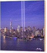 New York City Tribute In Lights World Trade Center Wtc Manhattan Nyc Wood Print