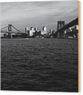 New York City - Two Bridges Wood Print