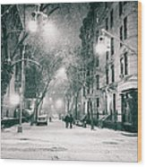 New York City - Winter Night In The West Village Wood Print