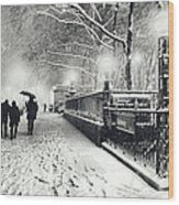 New York City - Winter - Snow At Night Wood Print by Vivienne Gucwa