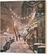 New York City - Winter Snow Scene - East Village Wood Print