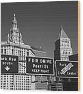 New York City With Traffic Signs Wood Print