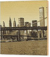 New York Downtown Manhattan Skyline - Yellow Panorama Wood Print