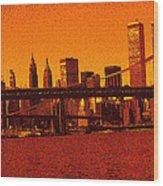 New York Downtown Manhattan Skyline Red Wood Print