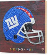 New York Giants Nfl Football Helmet License Plate Art Wood Print