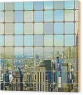 New York Golden Panorama Wood Print