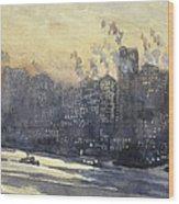 New York Harbor And Skyline At Night Circa 1921 Wood Print