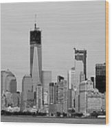 New York Harbor In Black And White Wood Print