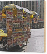 New York Hotdog Stand Wood Print