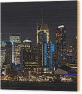 New York In Blue Wood Print by Mike Reid