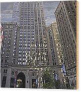 New York In Vertical Panorama Wood Print