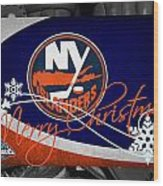 New York Islanders Christmas Wood Print