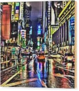 New York Lights In Rain Wood Print
