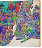 New York Map Abstract 2 Wood Print