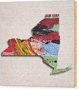 New York Map Art - Painted Map Of New York Wood Print
