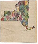 New York Map Vintage Watercolor Wood Print