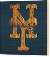 New York Mets Baseball Vintage Logo License Plate Art Wood Print