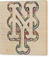 New York Mets Poster Art Wood Print