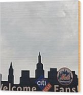 New York Mets Skyline Wood Print