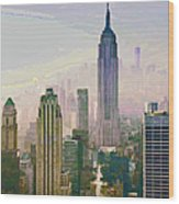 New York Misty Morning Wood Print