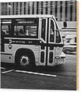 New York Mta City Bus Speeding Along 34th Street Usa Wood Print by Joe Fox