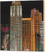 New York-new York Hotel Las Vegas - Pop Art Style Wood Print