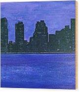 New York Night Wood Print